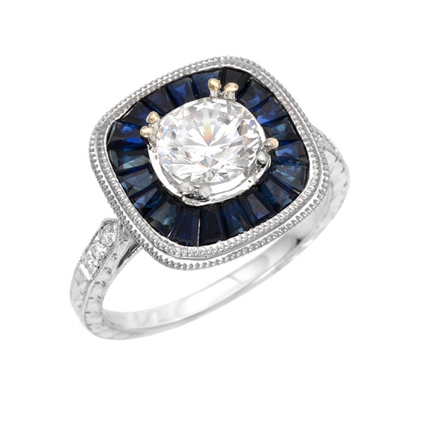 14k White Gold 1ct TDW Diamond and Blue Sapphire Ring (H-I, SI2)