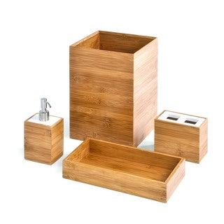 Seville Classics 4-piece Bamboo Bath Accessory Set