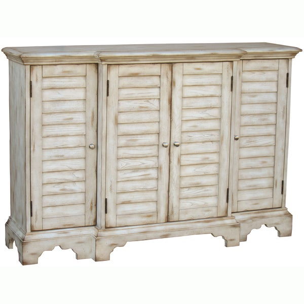 Hand-painted Distressed Cream Finish Credenza/ Console