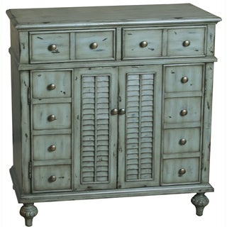 Hand-painted Distressed Weathered-Blue Finish Accent Chest