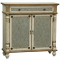Hand-painted Distressed Cream and Gold Finish Accent Chest
