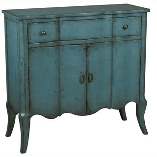 Hand-painted Distressed Blue Finish Rectangular Accent Chest