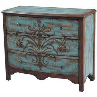 Hand-painted Distressed Walnut and Blue Finish Accent Chest