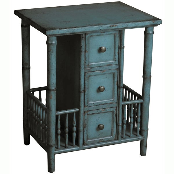 Distressed Blue Coffee Table: Hand-painted Distressed Blue Finish Accent Table