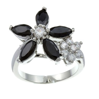 City Style Silvertone Clear and Black Cubic Zirconia Flower Ring
