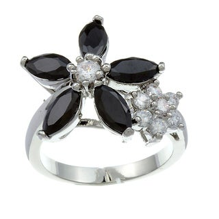 City by City City Style Silvertone Clear and Black Cubic Zirconia Flower Ring