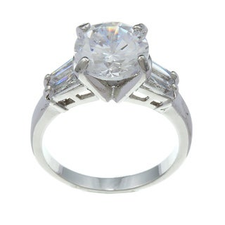 City Style Silvertone White Cubic Zirconia Ring
