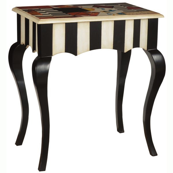 Hand-painted Distressed Black and Antique White Finish Accent Table