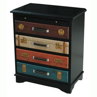 Hand-Painted Distressed Black Finish Accent Hardwood/MDF Chest