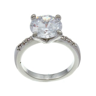 City Style Silvertone Clear Cubic Zirconia Thin Ring