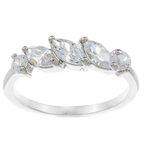 City by City City Glam Silvertone Marquise-cut Cubic Zirconia Ring