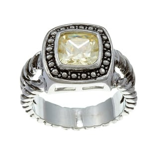 City Style Silvertone Yellow Cubic Zirconia Ring