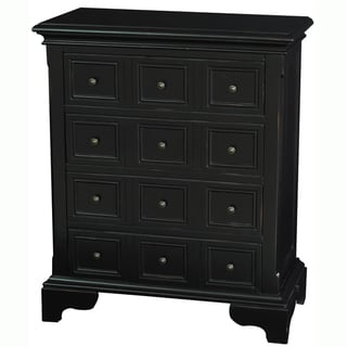 Hand-painted Distressed Black Finish Accent Chest