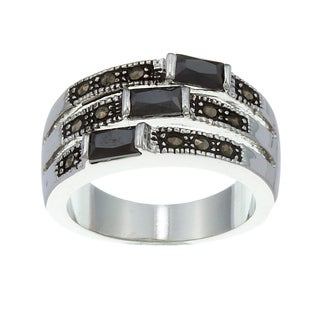 City Style Silvertone Black Cubic Zirconia and Marcasite Ring