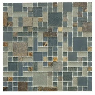 SomerTile 12x12-inch Reflections Versailles Wisp Glass and Stone Mosaic Wall Tile (Case of 10)