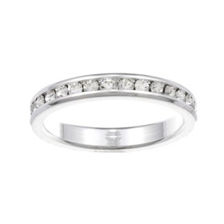 City Style Silvertone Clear Cubic Zirconia Eternity Band