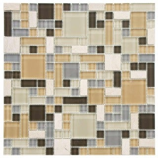 SomerTile 12 x 12-inch Reflections Versailles River Glass and Stone Mosaic Wall Tile (Case of 10)