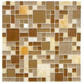 Somertile 12x12 Reflections Versailles Amber Glass/ Stone Mosaic Tiles (Pack of 10)