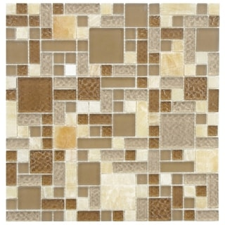 SomerTile 12 x 12-inch Reflections Versailles Amber Glass and Stone Mosaic Wall Tile (Case of 10)