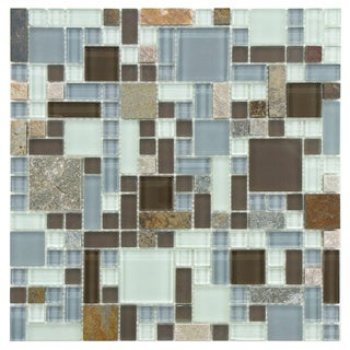 Somertile 12x12 Reflections Versailles Tundra Glass/ Stone Mosaic Tiles (Pack of 10)