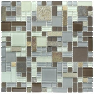 SomerTile 12x12-inch Reflections Versailles Tundra Glass and Stone Mosaic Wall Tile (Case of 10)