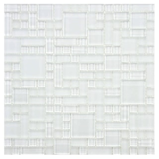 SomerTile 12x12-inch Reflections Versailles Ice White Glass Mosaic Wall Tile (Case of 10)
