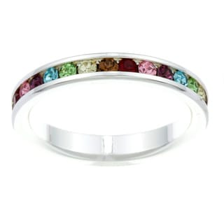 City Style Silvertone Multi-colored Cubic Zirconia Eternity Band