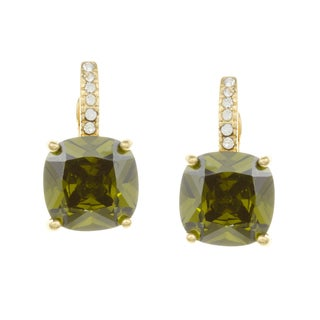 City Style Goldtone Green and White Cubic Zirconia Earrings