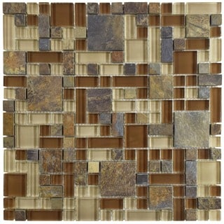 SomerTile 12x12-inch Reflections Versailles Brixton Glass and Stone Mosaic Wall Tile (Case of 10)