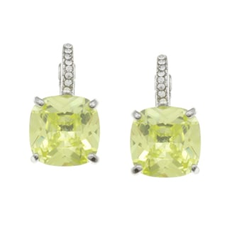 City Style Silvertone Light Green and White Cubic Zirconia Earrings