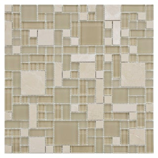 Somertile 12x12 Reflections Versailles Sandstone Glass/ Stone Mosaic Tiles (Pack of 10)