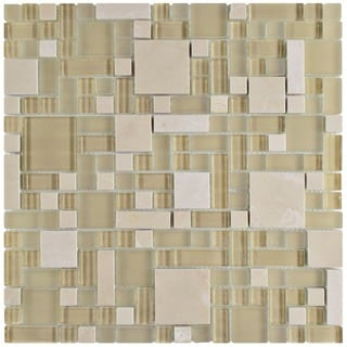 SomerTile 12x12-inch Reflections Versailles Sandstone Glass and Stone Mosaic Wall Tile (Case of 10)