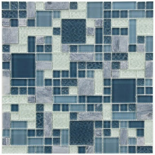 Somertile 12x12 Reflections Versailles Gulf Glass/ Stone Mosaic Tiles (Pack of 10)