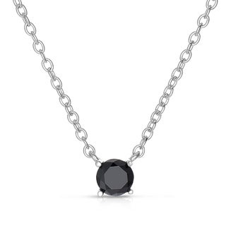 Sterling Silver 1/10 to 1ct TDW Black Diamond Solitaire Necklace