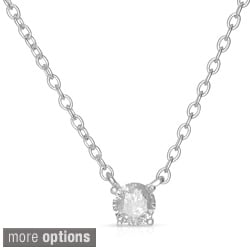 Finesque Sterling Silver Round Diamond Solitaire Necklace (I-J, I2)