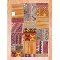 Antique Afghan Hand-woven Tribal Patchwork Kilim Multi-colored Wool Rug (3'2 x 4'7)
