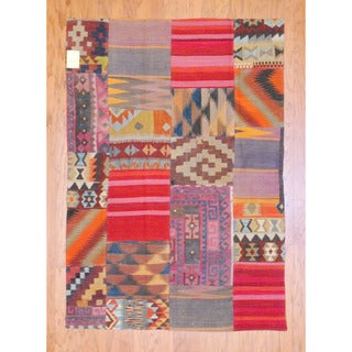 Antique Afghan Hand-woven Tribal Patchwork Kilim Multi-colored Wool Rug (4'2 x 5'11)