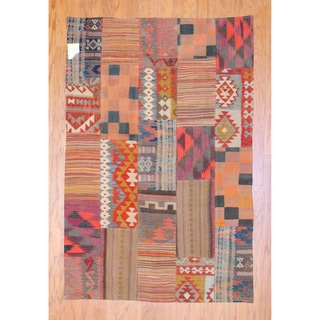 Antique Afghan Hand-woven Tribal Patchwork Kilim Multi-colored Wool Rug (4' x 6'1)