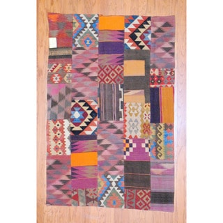 Antique Afghan Hand-woven Tribal Patchwork Kilim Multi-colored Wool Rug (4'1 x 6'3)