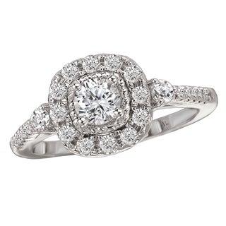 Avanti 14k White Gold 3/4ct TDW Diamond Halo Engagement Ring (G-H, SI1-SI2)