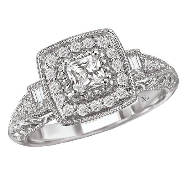 Avanti 14k White Gold 1/2ct TDW Vintage Princess Diamond Halo Engagement Ring (G-H, SI1-SI2)