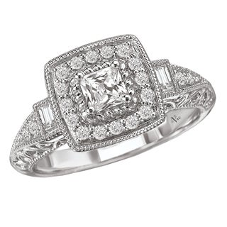 Avanti 14k White Gold 1/2ct TDW Vintage Princess Diamond Halo Engagement Ring (G-H, SI1-SI2)