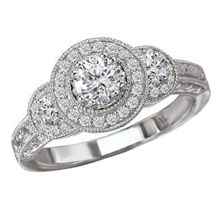 14k White Gold 0.62 CT TDW Vintage Diamond Halo Engagement Ring (G-H, SI1-SI2)