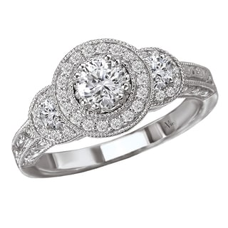 14k White Gold 3/5ct TDW Diamond Halo Engagement Ring (G-H, SI1-SI2)