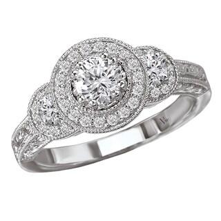 14k White Gold 0.62 CT TDW Vintage Diamond Halo Engagement Ring (G-H, SI1-SI2)