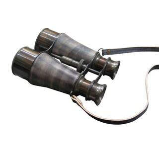 Old Modern Handicrafts Leather-Gripped Brass Binoculars with Wooden Case