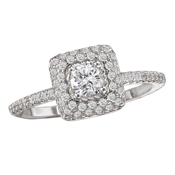 14k White Gold 3/5ct TDW Diamond Double Halo Engagement Ring (G-H, SI1-SI2)