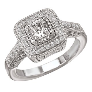 14k White Gold 5/8ct TDW Diamond Milligrain Engagement Ring (G-H, SI1-SI2)