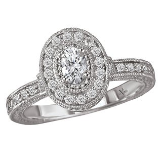 14k White Gold 1/2ct TDW Diamond Milligrain Engagement Ring (G-H, SI1-SI2)