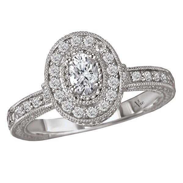 Avanti 14k White Gold 1/2ct TDW Diamond Milligrain Engagement Ring (G-H, SI1-SI2)